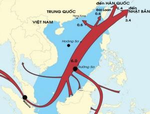 Bản đồ phân bổ 169 tỉ m3 khí hóa lỏng qua biển Đông năm 2011 - Đồ họa: EIA